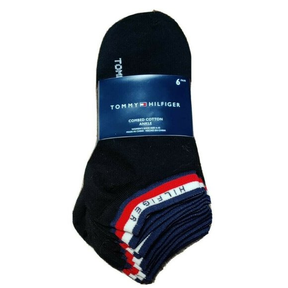 Tommy Hilfiger Spellout Black Ankle Socks 6 Pairs